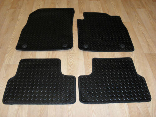 Fully Tailored RUBBER Car Mats Black with Blue Trim. Vauxhall Vectra C 2003-08