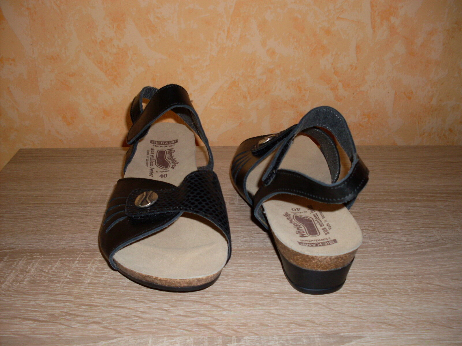 Damenschuh Gr. Wörishofer Klett Sandalette NEU Gr. Damenschuh 40 G in schwarz & Nappaleder 6250ae