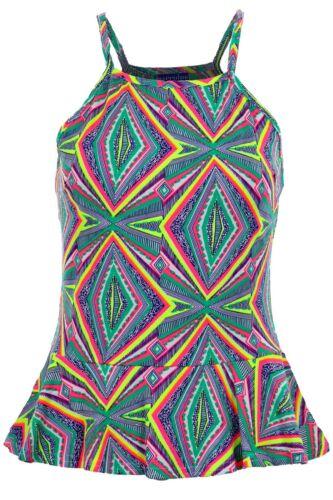 Women/'s Strappy Sleeveless Cami Neon Aztec Print Ladies Peplum Frill Top Vest