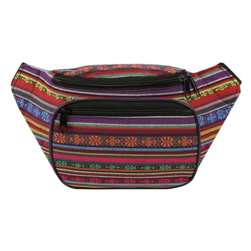 Boho Fanny Pack Aztec Striped Waist Pack Tribal Bum Bag for Men and Women