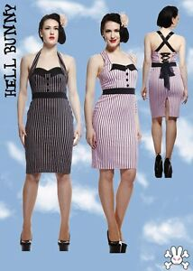 Burlesque Mrs Dita Dress Stripes Black Johnson Hell Pencil Pink Bunny Pinup Tqvwgw