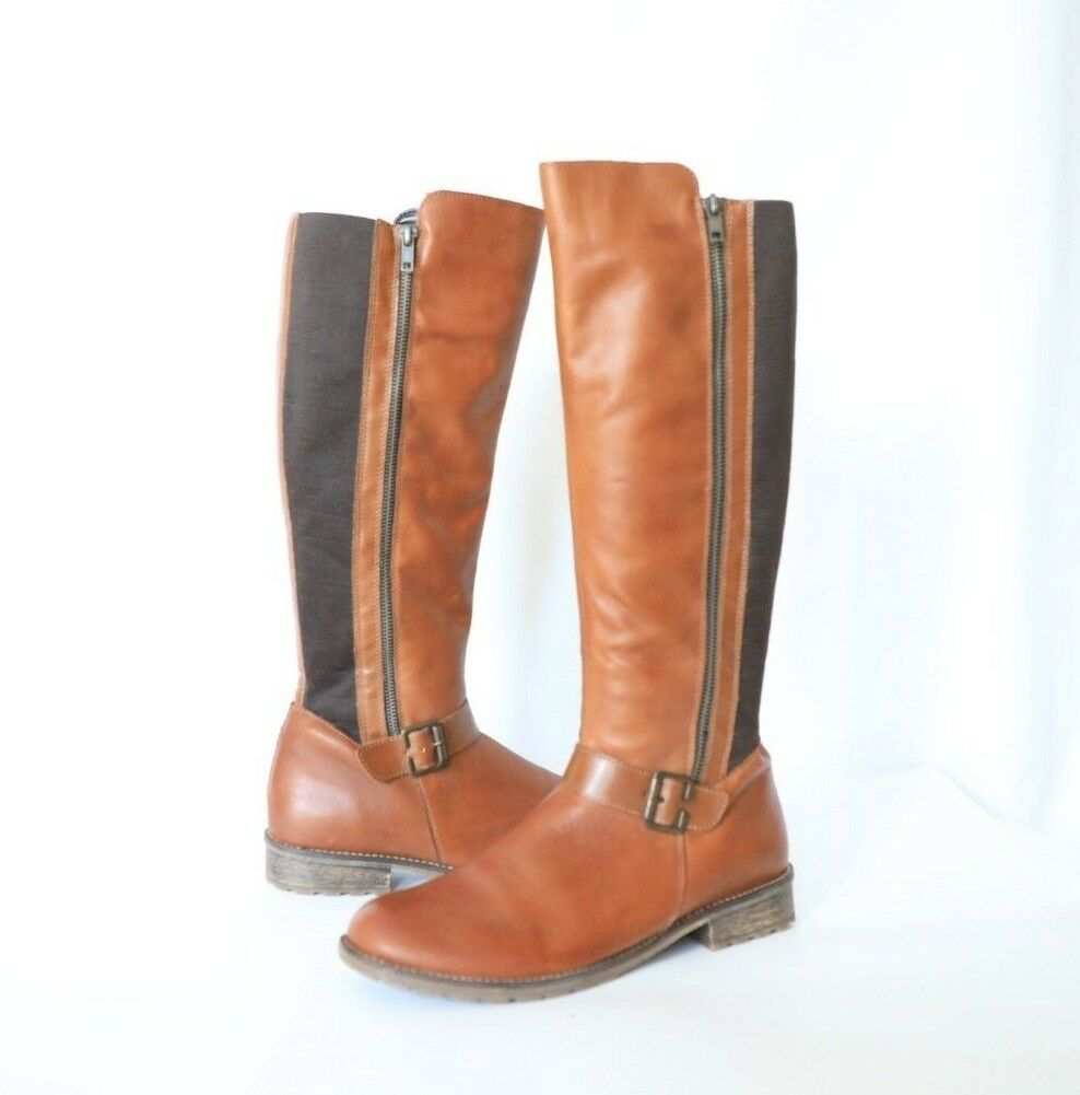 NEW Remonte Tan Brown Knee Boots High Zippered Boots Knee size 41EU/ 9 f38452