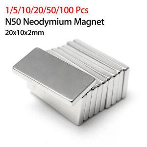 Lot 10pcs Aimant Neodyme Rectangulaire Puissant Fort Neodymium Magnet 20x10x5mm