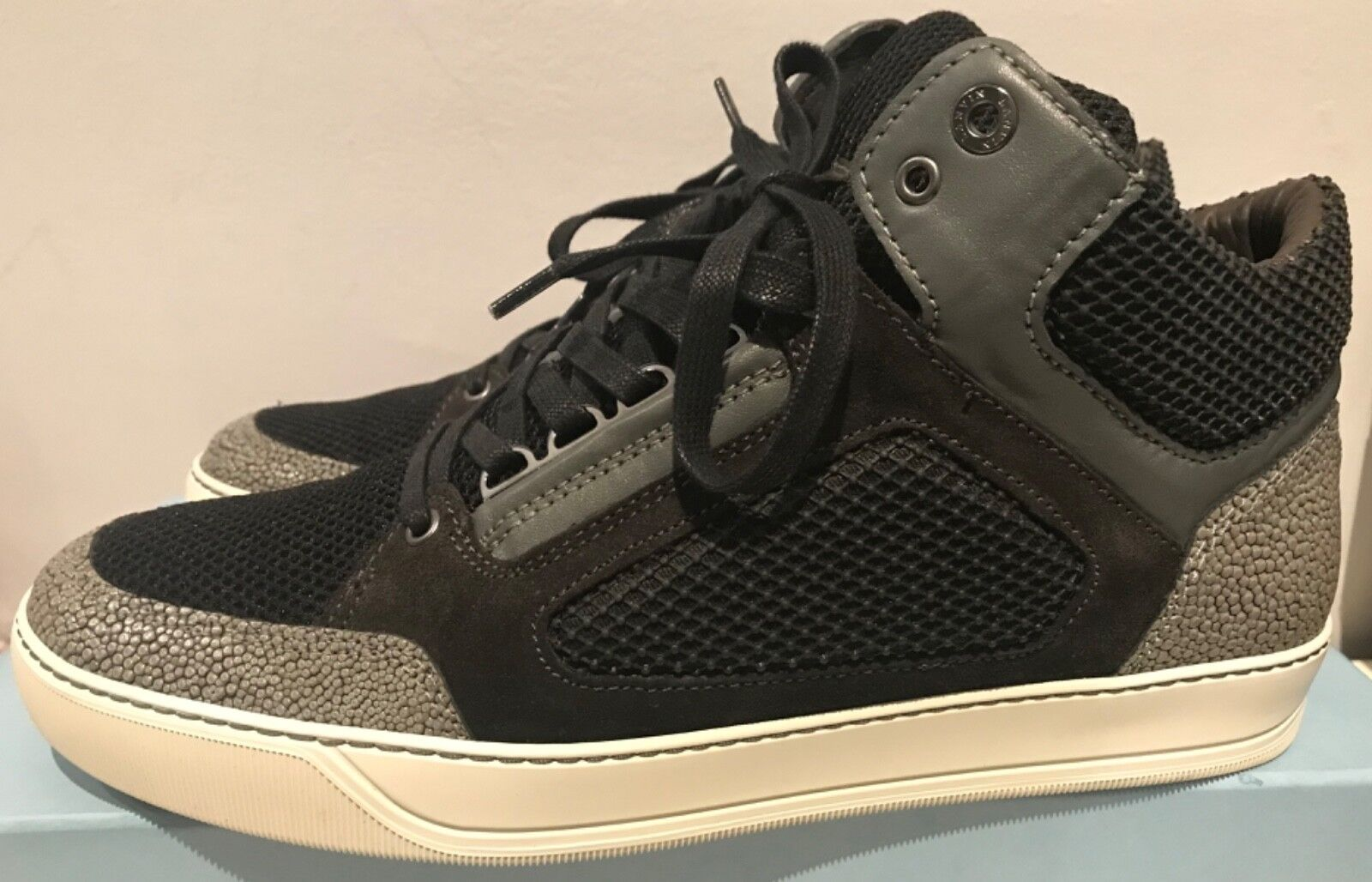 Authentic Lanvin Paris Black Mesh and Leather high top sneakers 10
