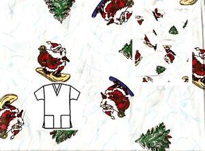 NEW-Scrubs-Christmas-Print-Scrub-Top-XL-Wild-Santa