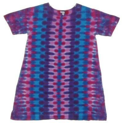 Girls Tie Dye DRESS Heart V short sleeve sizes 2T 4T 6 8 10 12 boho hippie art