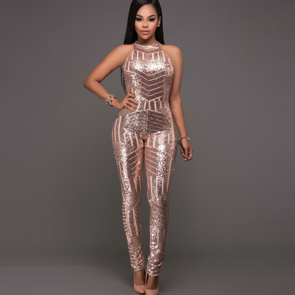 New Ladies golden Sequin Sleeveless Jumpsuit Catsuit Club Wear UK Size 8 to 14