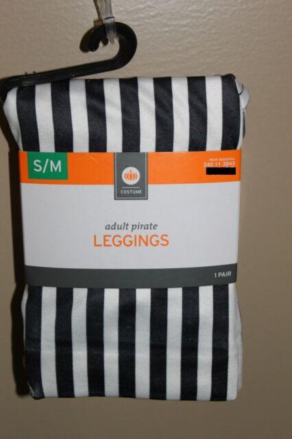 BLACK /& WHITE STRIPED LEGGINGS Small Medium Adult Women Pirate Costume S//M NEW