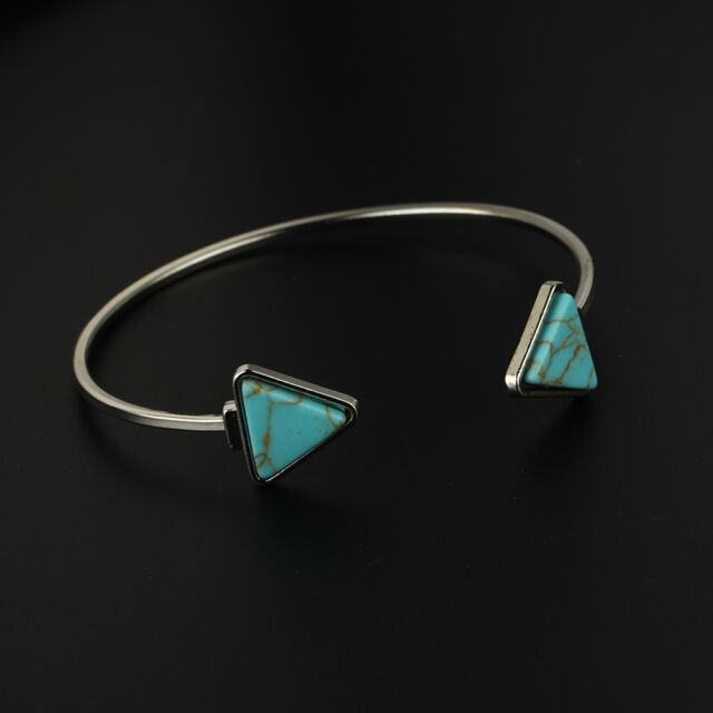 New Triangle Open Bangle Silver/Gold Plated Cuff Bracelet Boho Turquoise Jewelry