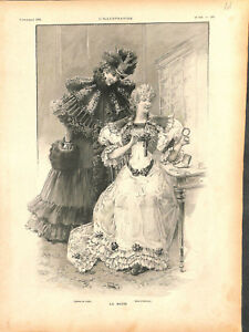 Mode de Paris robes toilette de visite et robe d'intérieur bracelet GRAVURE 1894 - France - EBay Paris Fashion Dresses Visiting Toilet and Wristband Indoor Dress France ANTIQUE PRINTGRAVURE 100 % DÉPOQUE 1894 PORT GRATUIT EUROPE A PARTIR DE 4 OBJETSBUY 4 ITEMS AND EUROPE SHIPPING IS FREE Il s'agit d'un fragment de page originale avec t - France
