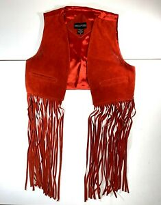 Vintage-Leather-Red-Fringe-Vest-SMALL-RED-Womens-Passport-Woodstock-Hippie-Biker