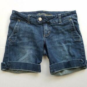 American-Eagle-Cuffed-Denim-Shorts-Womens-Size-4-Blue-Medium-Wash-Jean