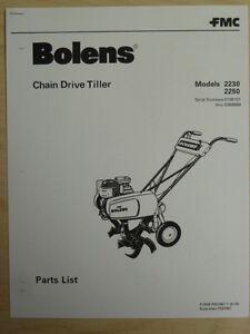 fmc bolens chain drive tiller 2230 2250 illustrated parts list rh ebay com bolens garden tiller manual bolens tiller manual 550