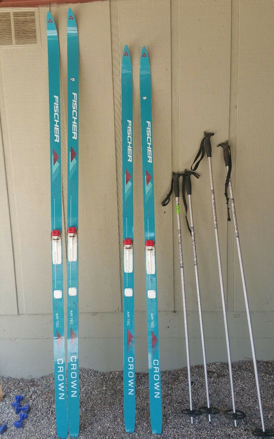 2 Fischer Crown Air Tec Waxless Cross  Country Skis.  Salomon binders and poles  the cheapest