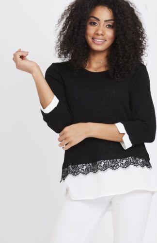 New Women Ladies Summer Black Eyelash Lace Hem Detail Top Blouse