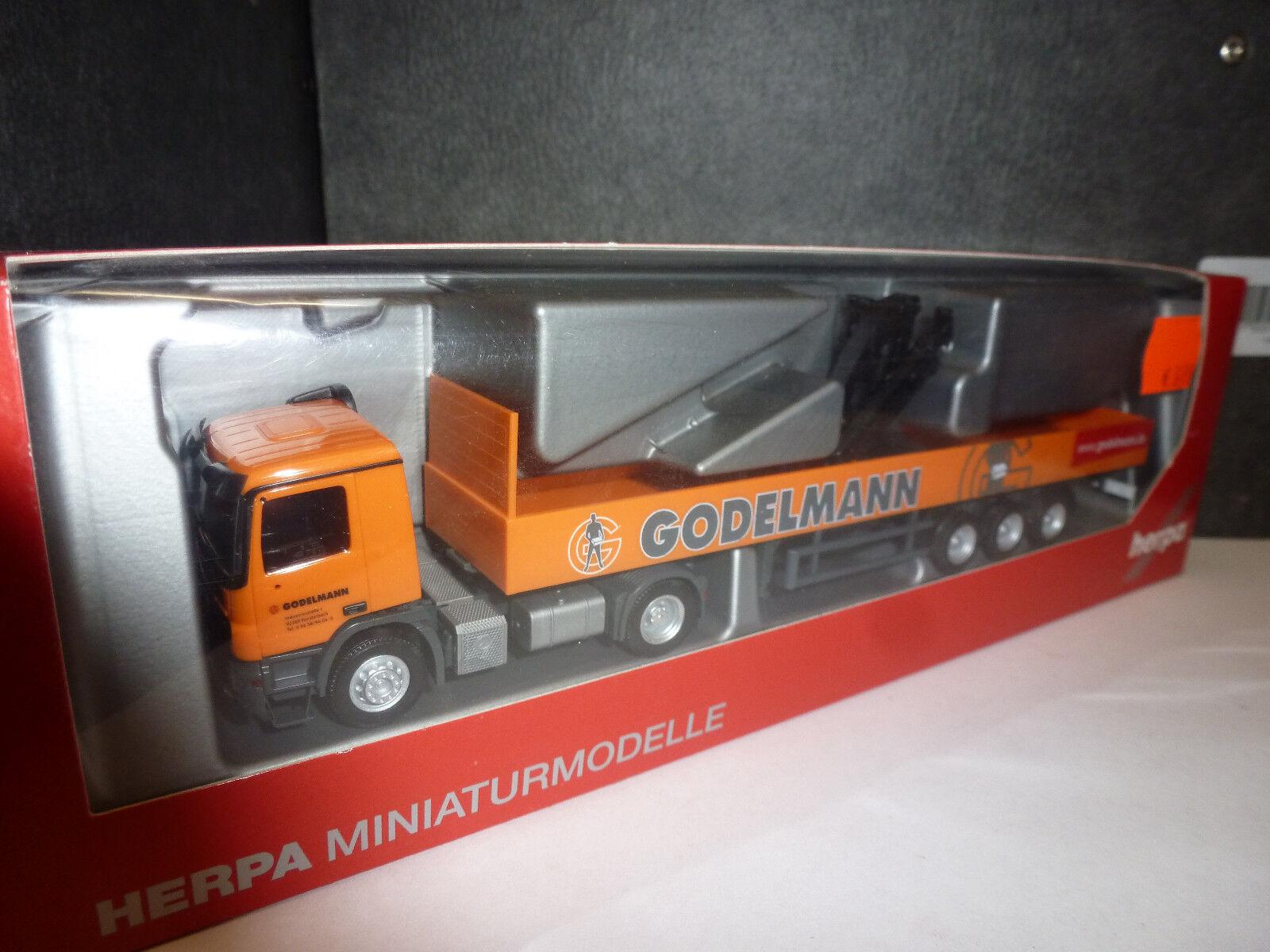 Herpa, 302579  Mercedes-Benz Actros M Pritschen-Sattelzug mit Kran  Godelmann   | Modern Und Elegant