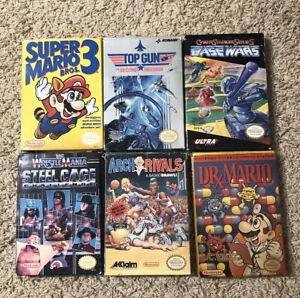 Nintendo NES 6 Game Lot - Super Mario Bros 3, Dr. Mario, WWF, Base Wars & more!