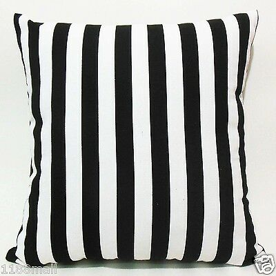 FFA-141 BLACK AND WHITE STRIPES Quality Canvas Cushion/Pillow Cover Custom Size