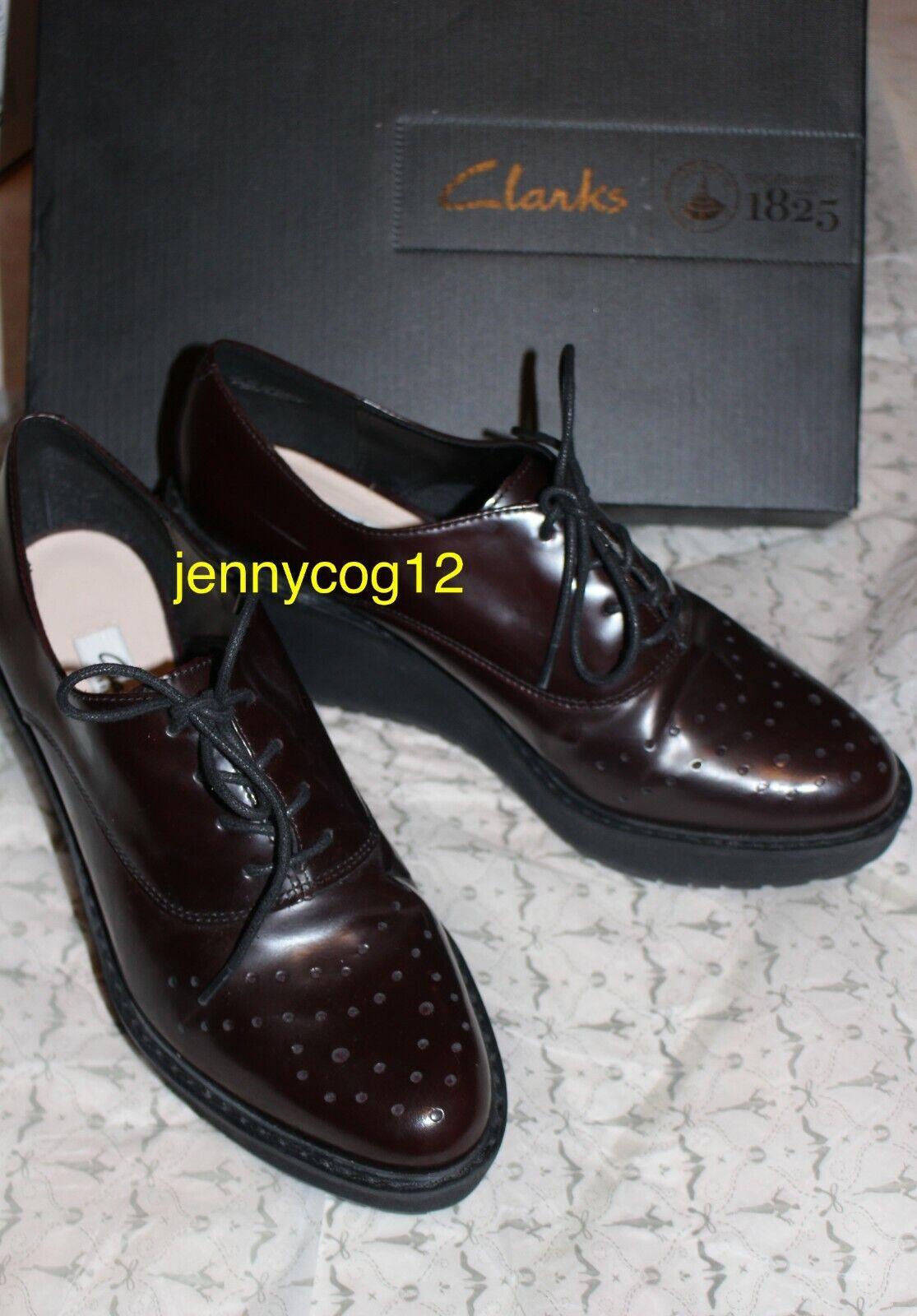 Clarks Clarks Clarks Ladies GAME OVAL BURGUNDY LEATHER Platform Wedge Heel Brogues shoes 6 D d61863