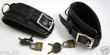 Faux Leather Cool Wide Wristband Locking Padded Cuffs Black Bracelet Fashion USA