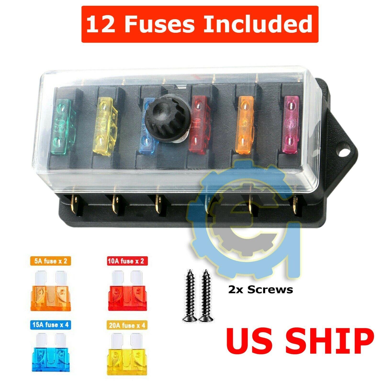 6 Way Blade Fuse Box & Bus Bar Car Kit With Cover Marine FUSEBOX Holder 32v  for sale online | eBayeBay