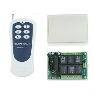 DC 12v relay 6CH wireless RF Remote Control Switch Transmitter+ Receiver