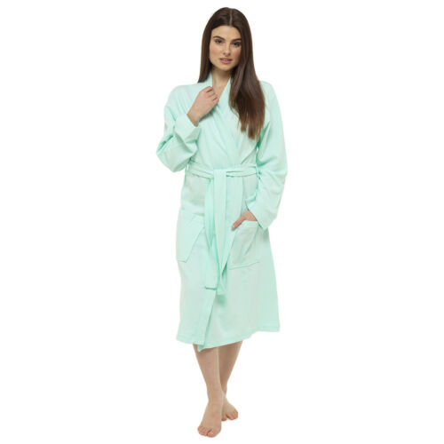 Octave Ladies Summer 100/% Cotton Soft Touch Waffle Bath Robe Dressing Gown