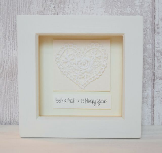 Keepsake Wedding Gifts: 13th Wedding Anniversary Lace Gift Keepsake Personalised
