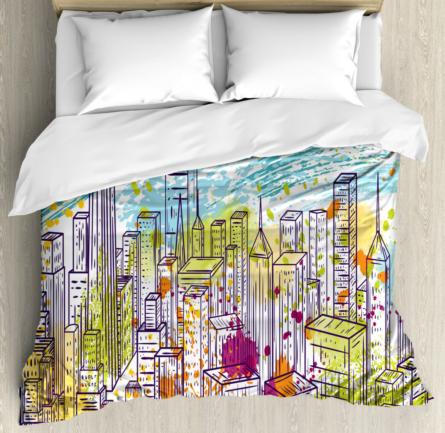 New York Duvet Cover Set with Pillow Shams Landscape Skyscrapes Print
