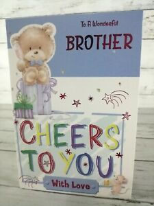 To A Wonderful Brother Cheers To You, Birthday Card, Bear & Mouse, Blue