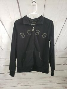 d1d6ee199 Details about BCBG MAX AZRIA Studded Logo Velour Black Zip Up Sweater Zip  Size Med womans