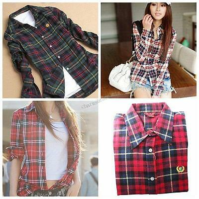 Fashion Colorised Women Casual Lapel Shirt Plaid&Check Flannel Shirts Top Blouse