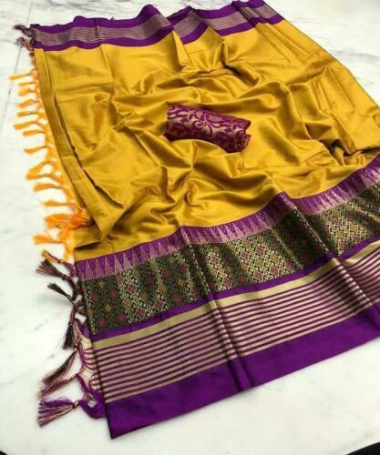 Cotton Silk Indian Saree Bollywood Ethnic Party Wear Kanchipuram Traditional MF