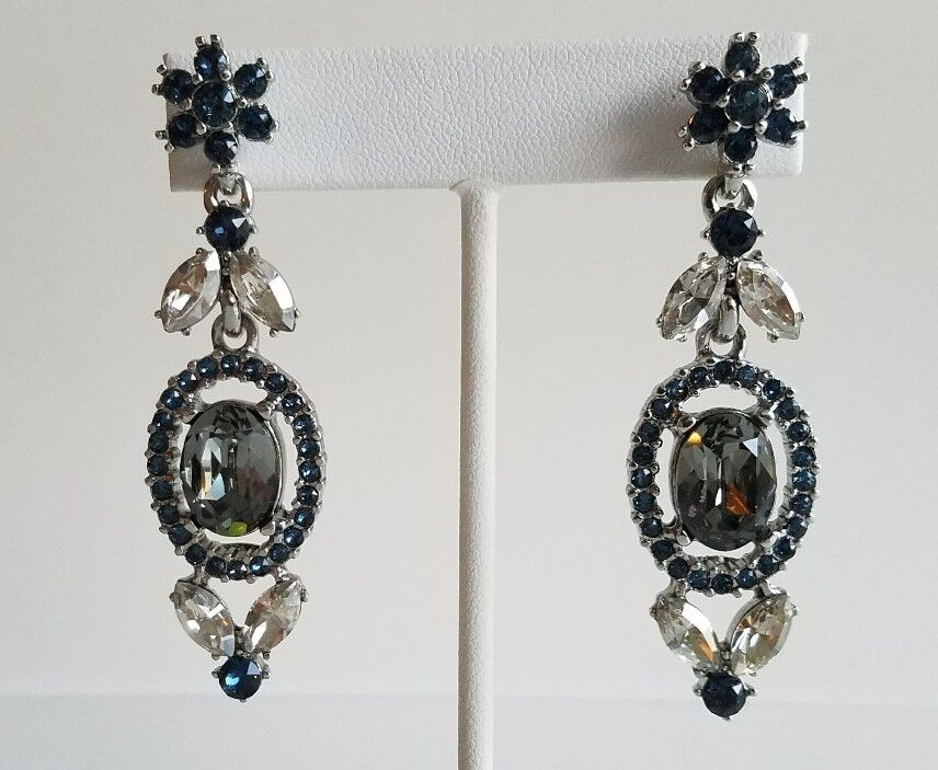 OSCAR DE LA RENTA bluee Crystal Floral Navette Drop Earrings NEW  390