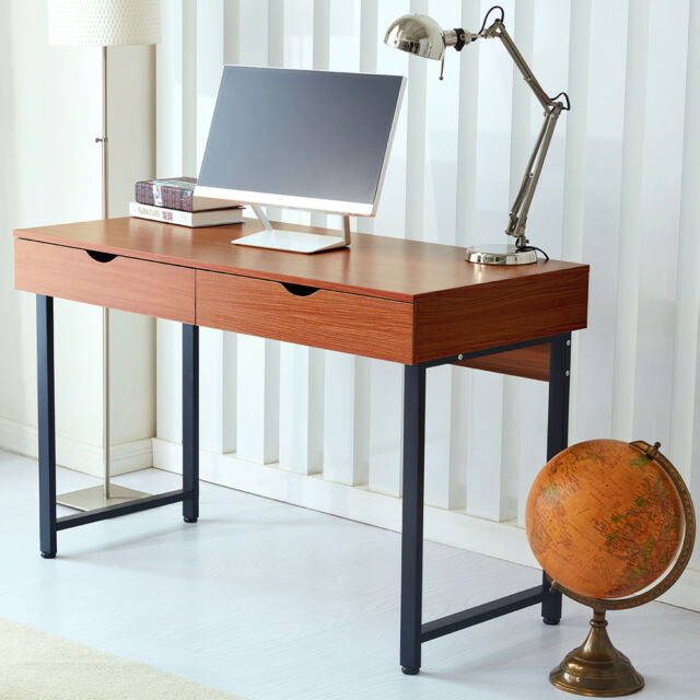 Home Office Desk Computer Table Workstation Modern With 2 Drawers Walnut Raygar