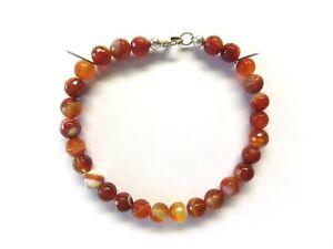 Achat-rot-facett-Armband-18-5-cm-925-Silber-Agate-Bracelet-Nr-5166