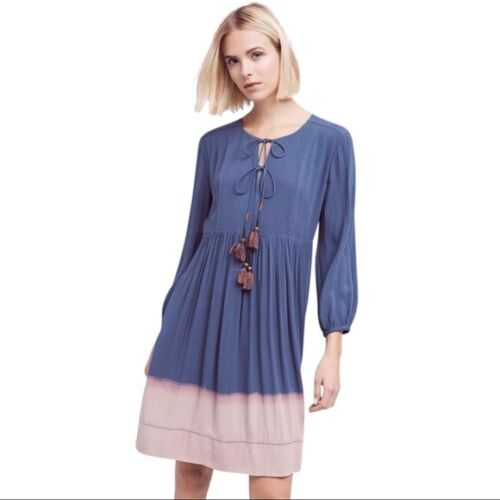 $138 New Anthropologie Dip-Dye Peasant Dress By Holding Horses Sz 4 6 8 10