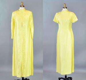 26a05d382c Vtg 1960s Women Yellow Dress Set Suit Long Jacket Soutache Trim ...