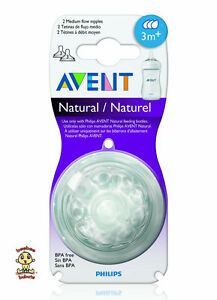 Avent Natural Nipple or Avent Natural Teat, Medium Flow #3, 2 Count, BPA Free
