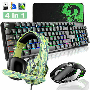4in1 Wireless Gaming Keyboard Mouse Headset Set 4800mah For Pc Ps4 Laptop Us Ebay