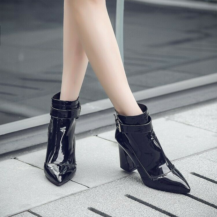 Faux Patent Leather Women Pointed Toe Ankle Boots Ladies Causal Pump Party shoes