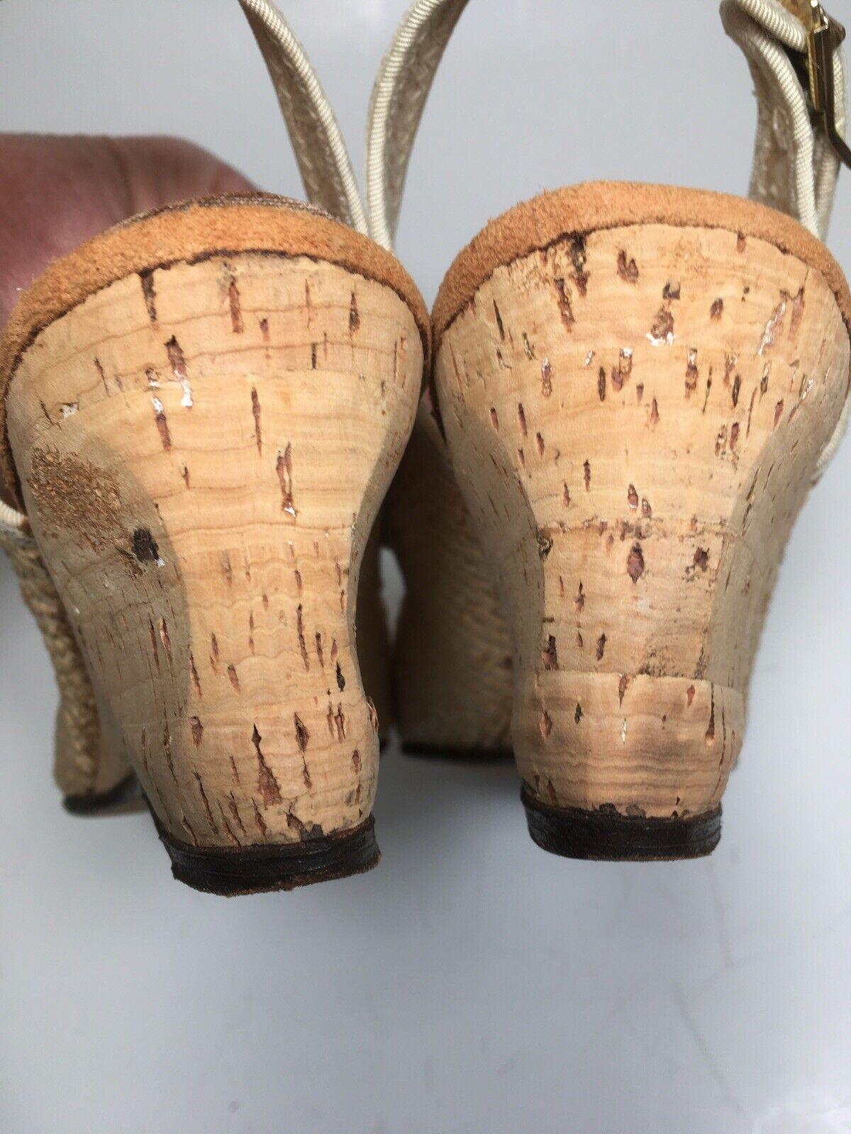 Vintage 40s Shoes Platform CORK Wedge Sandals Str… - image 6