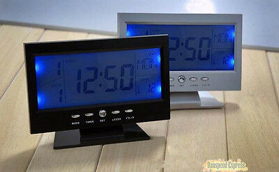 Large LCD Digital Voice-activated Back-light Alarm Clock Calendar&Temperature
