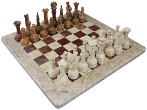 Chess Set- Fossil Stone & Red Onyx with Personalization
