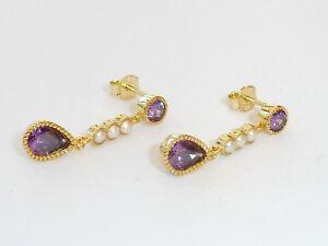 Damen-18-Karat-Gelbgold-auf-Sterling-925-Silber-Perle-und-Amethyst-Ohrringe