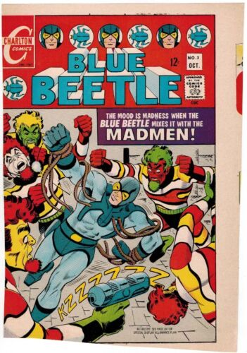 1967 STEVE DITKO BLUE BEETLE #3 ORIGINAL COLOR COVER PROOF COMIC PRODUCTION ART