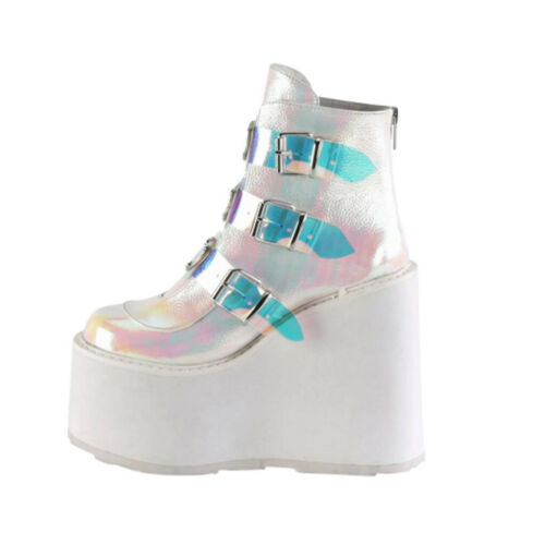 Women/'s Ankle Boots Wedge High Heel Punk Creepers Casual Platform Shoes