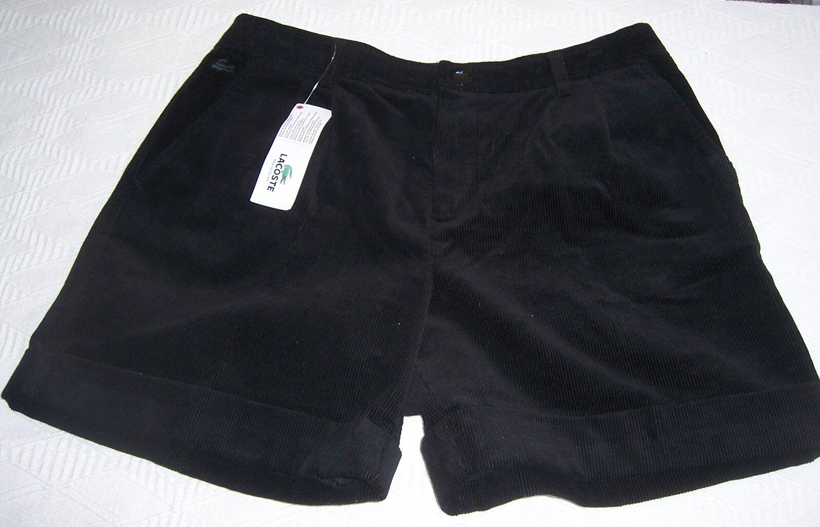 Neuf avec étiquettes Lacoste Noir Velours Côtelé Revers courtes Misses taille 42 (10)