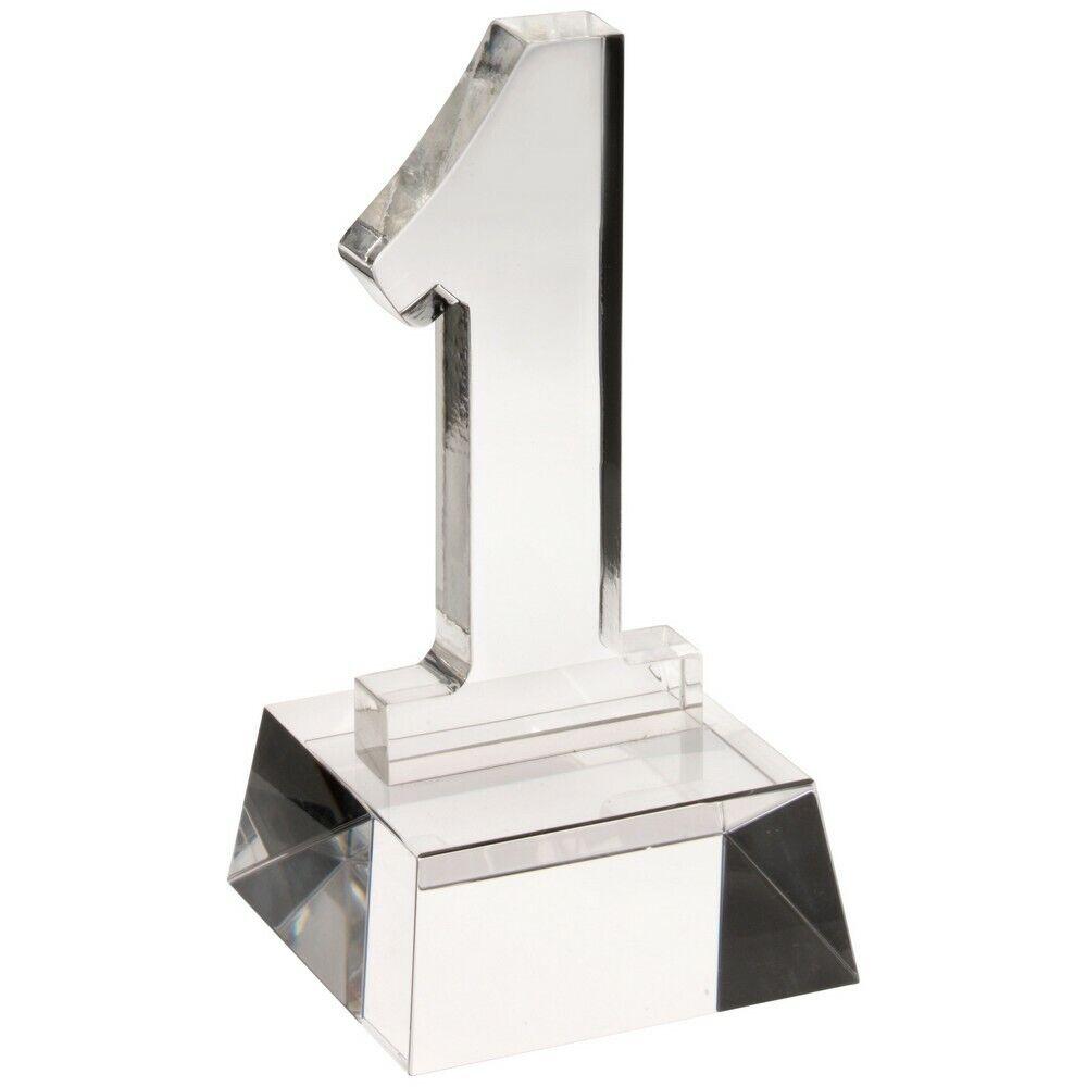 Glass ' Number 1' award Trophy , Multi Sport, 140mm, FREE Engraving(JB600)TD