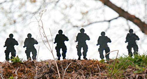 Lot de 6 Acier Noir armée soldat Micro Knock Down de chasse tir cible